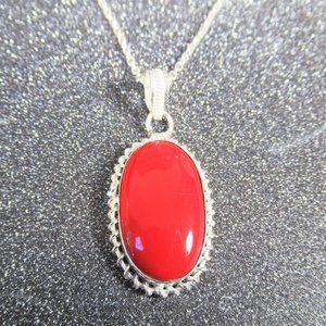 Red Onyx Boho Pendant / Long Chain